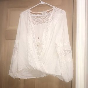 Cream Wrap Top with lace details